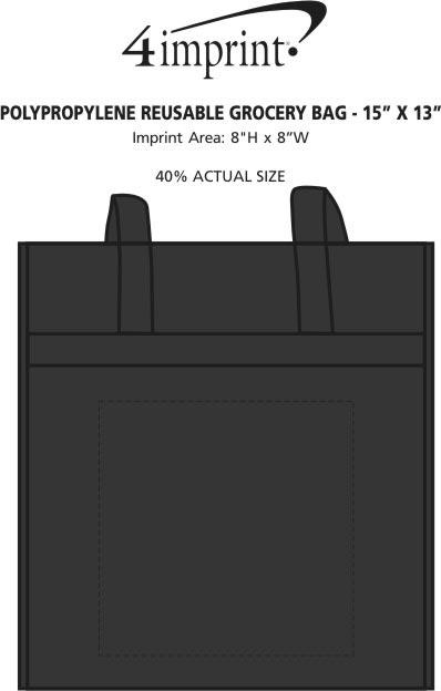 """Imprint Area of Polypropylene Reusable Grocery Bag - 15"""" x 13"""""""
