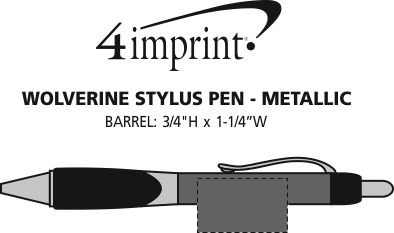Imprint Area of Wolverine Stylus Pen - Metallic