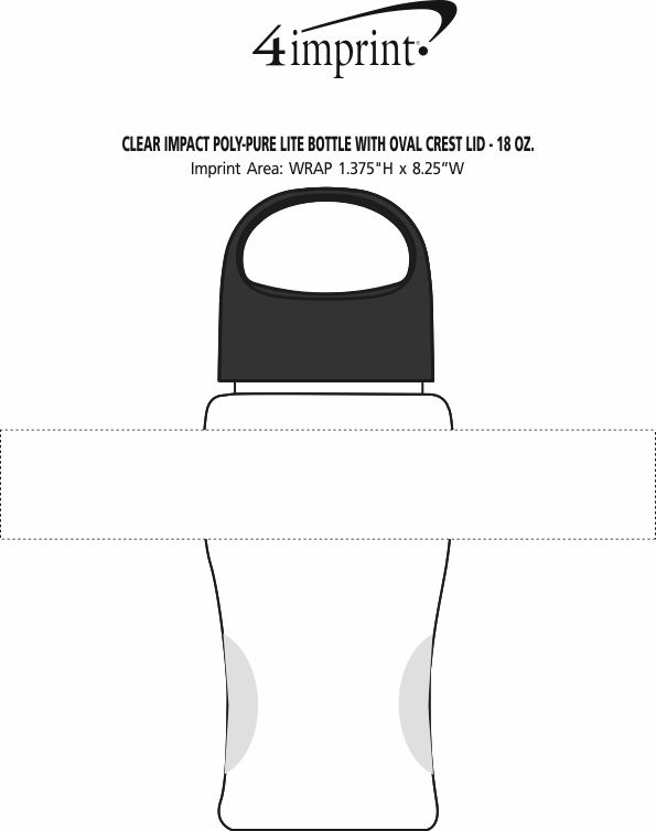 Imprint Area of Clear Impact Poly-Pure Lite Bottle with Oval Crest Lid - 18 oz.