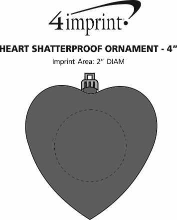 "Imprint Area of Heart Shatterproof Ornament - 4"""
