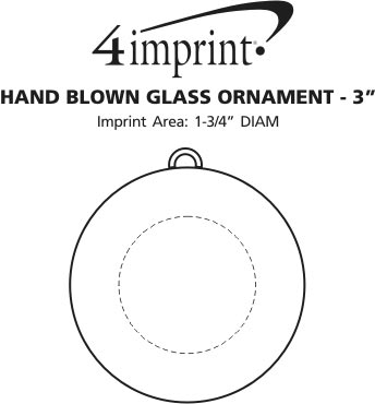 """Imprint Area of Hand Blown Glass Ornament - 3"""""""