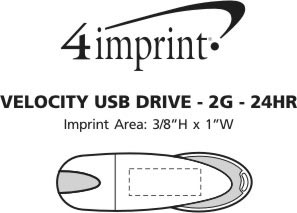 Imprint Area of Velocity USB Drive - 2GB - 24 hr