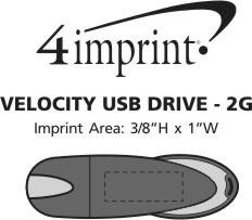 Imprint Area of Velocity USB Drive - 2GB