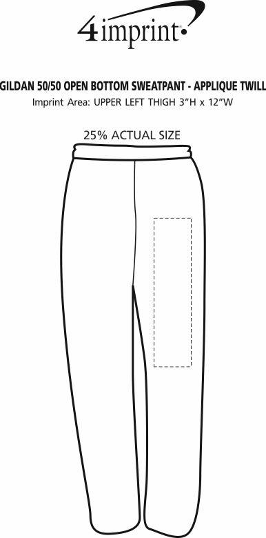Imprint Area of Gildan 50/50 Open Bottom Sweatpants - Applique Twill