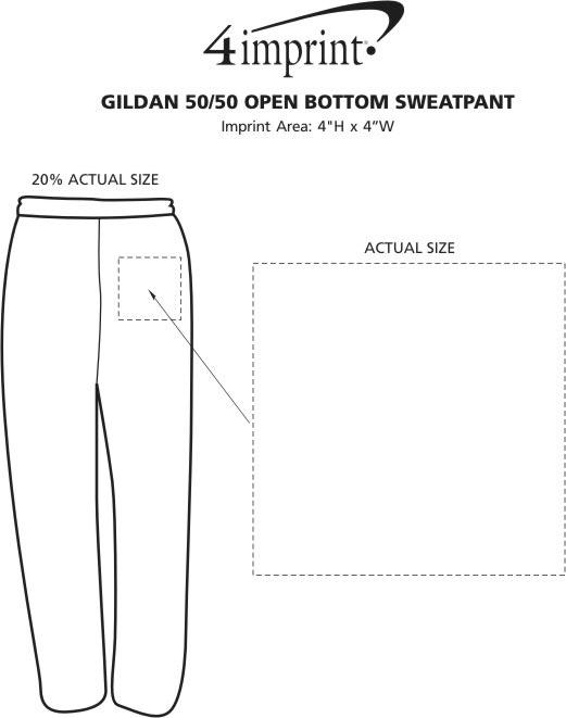 Imprint Area of Gildan 50/50 Open Bottom Sweatpants - Screen