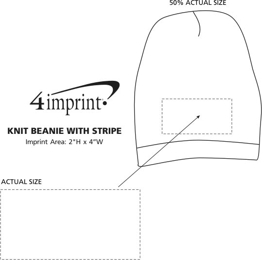 Imprint Area of Knit Beanie with Stripe
