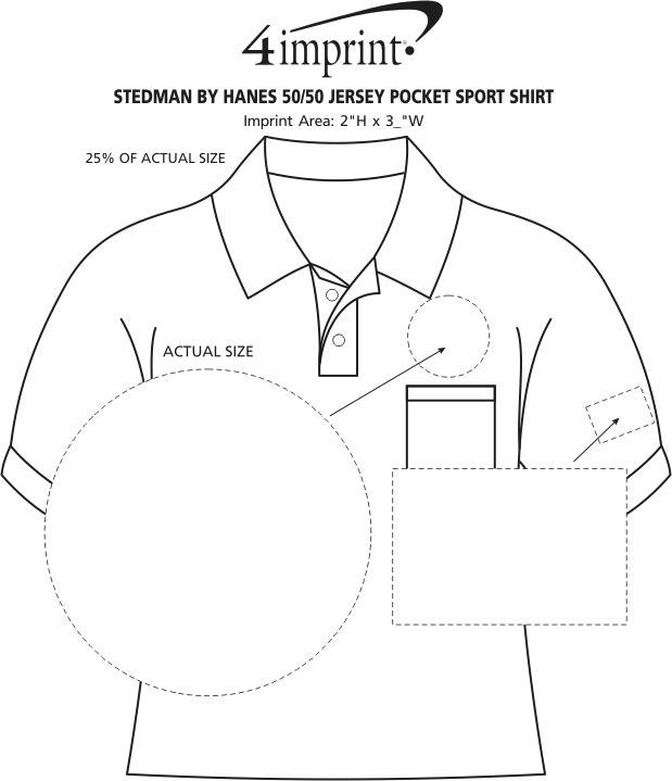 Imprint Area of Hanes ComfortBlend 50/50 Jersey Pocket Sport Shirt