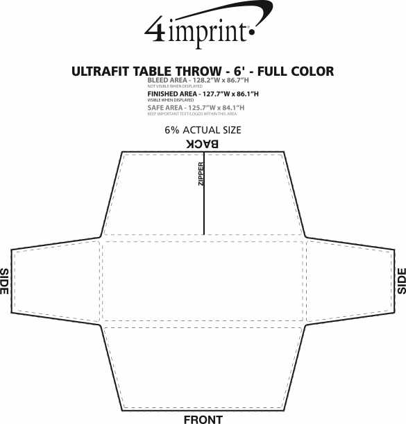 Imprint Area of Hemmed UltraFit Table Cover - 6' - Full Color