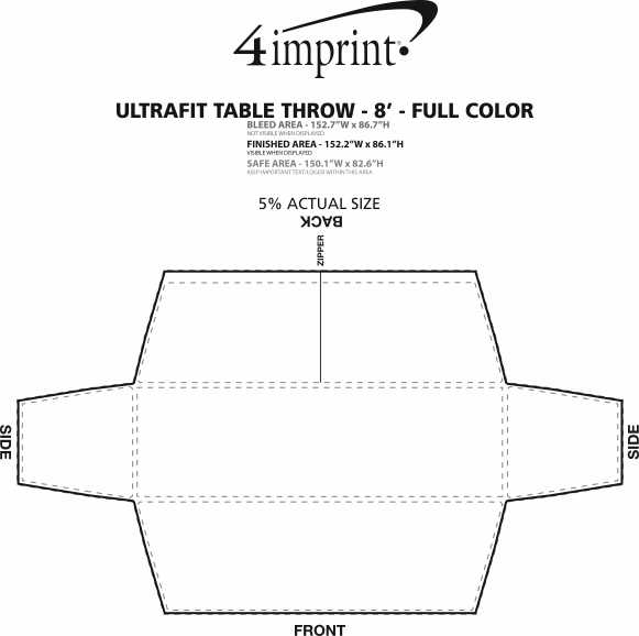 Imprint Area of Hemmed UltraFit Table Cover - 8' - Full Color