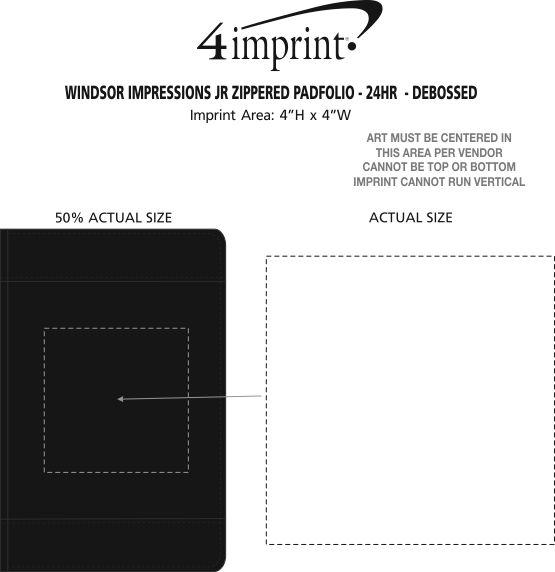 Imprint Area of Windsor Impressions Jr. Zippered Padfolio - Debossed - 24 hr