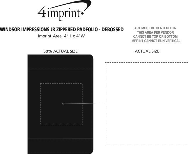 Imprint Area of Windsor Impressions Jr. Zippered Padfolio - Debossed