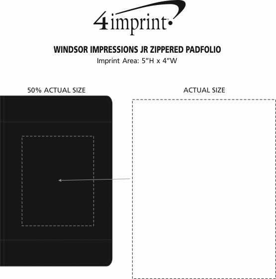 Imprint Area of Windsor Impressions Jr. Zippered Padfolio