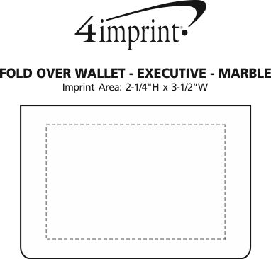Imprint Area of Fold Over Wallet - Executive - Marble