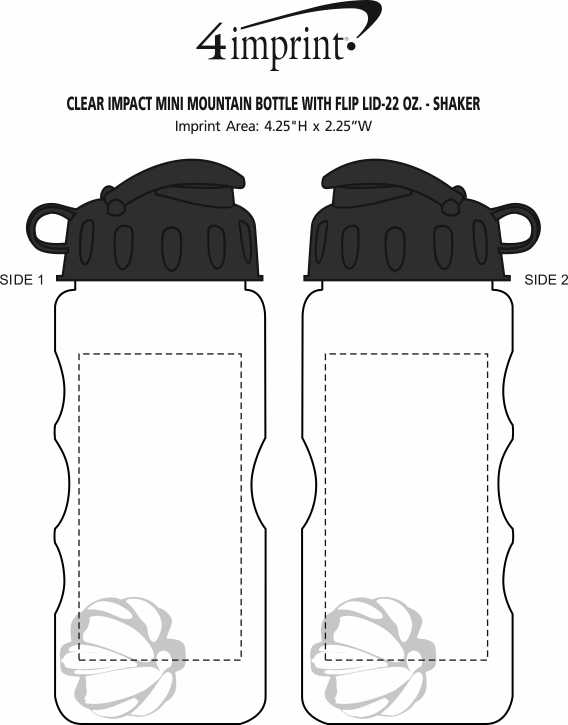 Imprint Area of Clear Impact Mini Mountain Bottle with Flip Lid - 22 oz. - Shaker