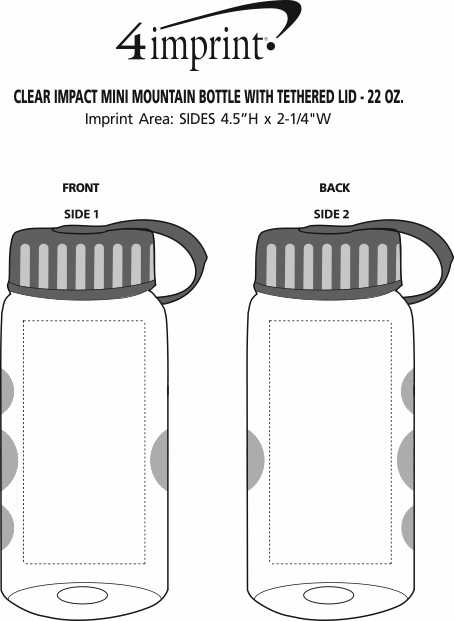 Imprint Area of Clear Impact Mini Mountain Bottle with Tethered Lid - 22 oz.