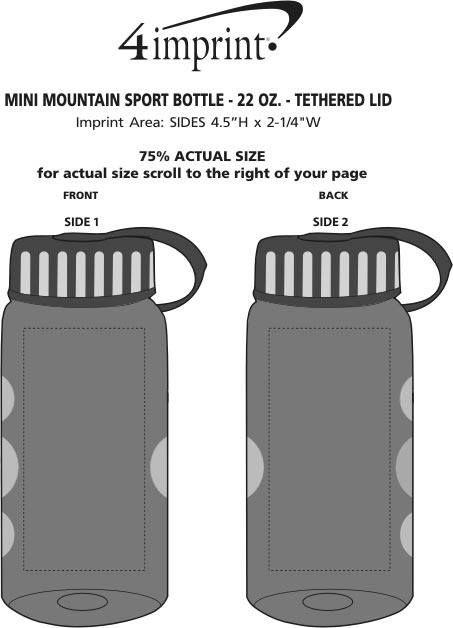 Imprint Area of Mini Mountain Bottle with Tethered Lid - 22 oz.