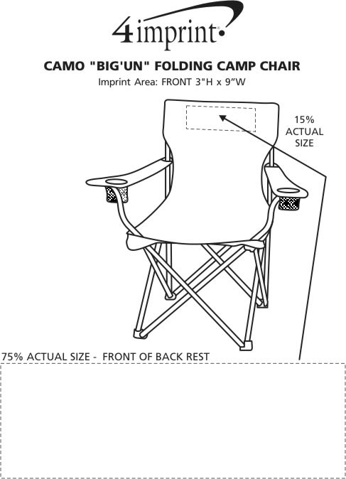 "Imprint Area of Camo ""BIG'UN"" Folding Camp Chair"