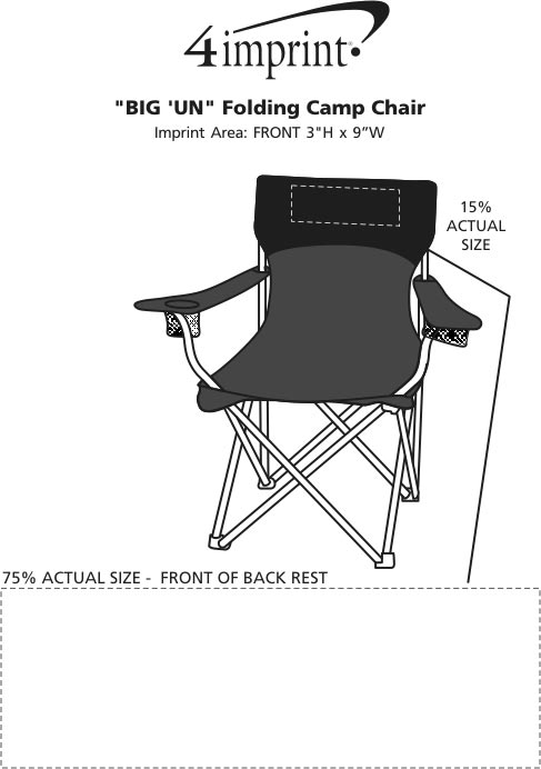 "Imprint Area of ""BIG'UN"" Folding Camp Chair"