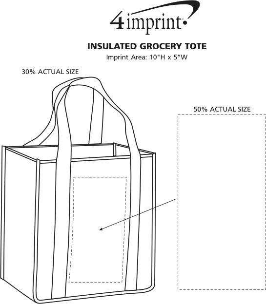 Imprint Area of Koozie® Zippered Insulated Grocery Tote