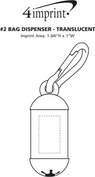 Imprint Area of #2 Bag Dispenser - Translucent