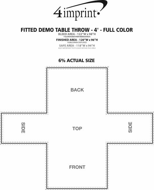 Imprint Area of Serged Fitted Demo Table Throw - 4' - Full Color