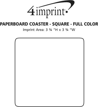 Imprint Area of Paperboard Coaster - Square - Full Color