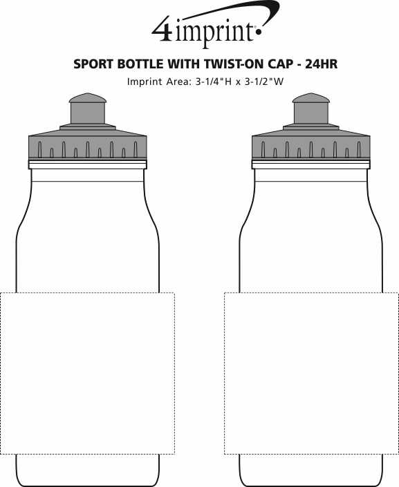 Imprint Area of Sport Bottle with Push Pull Lid - 20 oz. - White - 24 hr