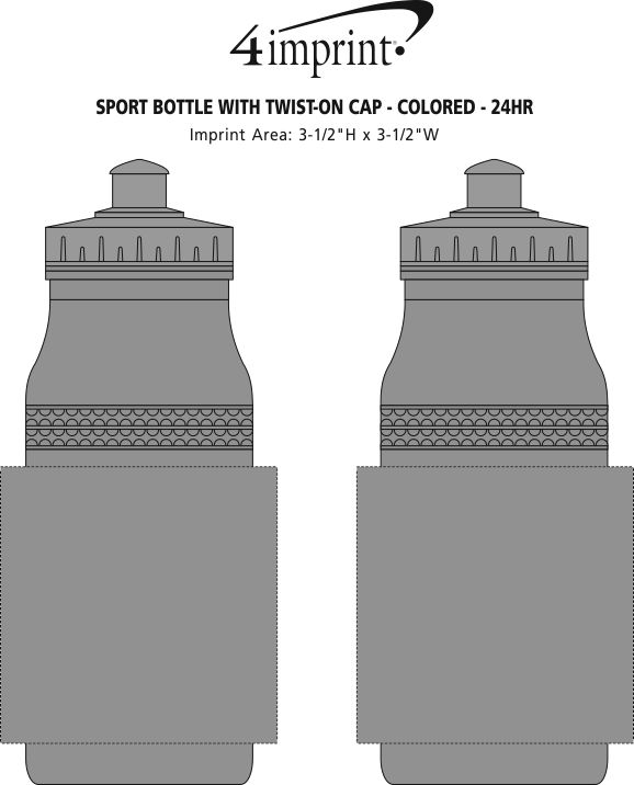 Imprint Area of Sport Bottle with Push Pull Lid - 20 oz. - Colors - 24 hr