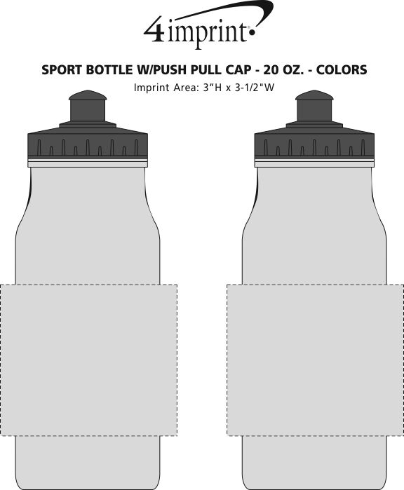 Imprint Area of Sport Bottle with Push Pull Lid - 20 oz. - Colors