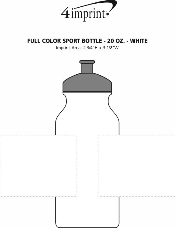 Imprint Area of Full Color Sport Bottle - 20 oz. - White