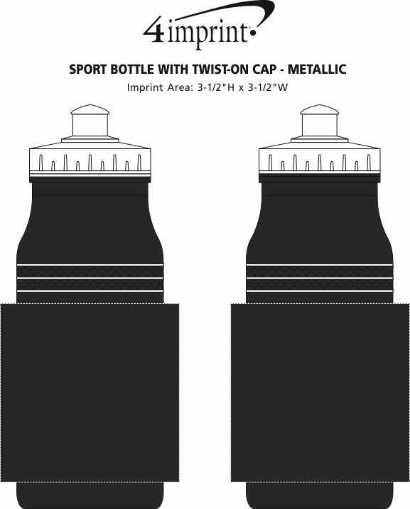 Imprint Area of Sport Bottle with Push Pull Lid - 20 oz. - Metallic