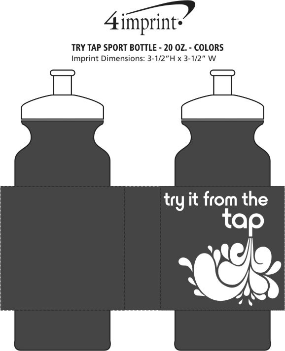 Imprint Area of Try Tap Sport Bottle - 20 oz. - Colors