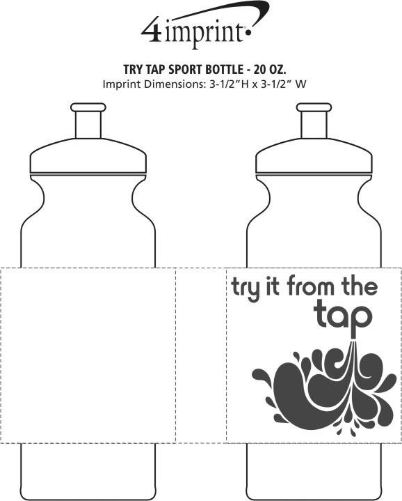 Imprint Area of Try Tap Sport Bottle - 20 oz.