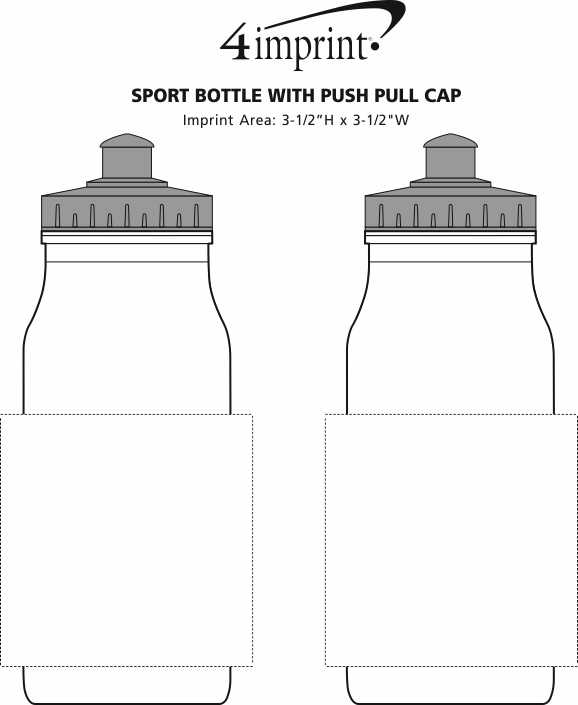 Imprint Area of Sport Bottle with Push Pull Lid - 20 oz. - White
