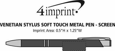 Imprint Area of Venetian Soft Touch Stylus Metal Pen - Screen