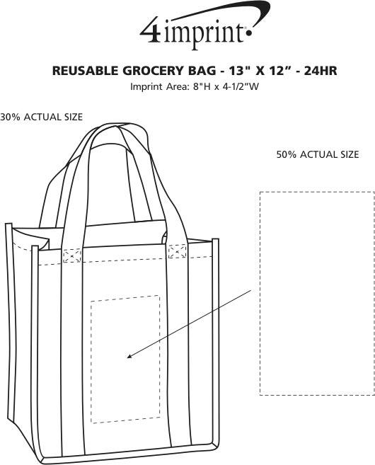 "Imprint Area of Reusable Grocery Bag - 13"" x 12"" - 24 hr"