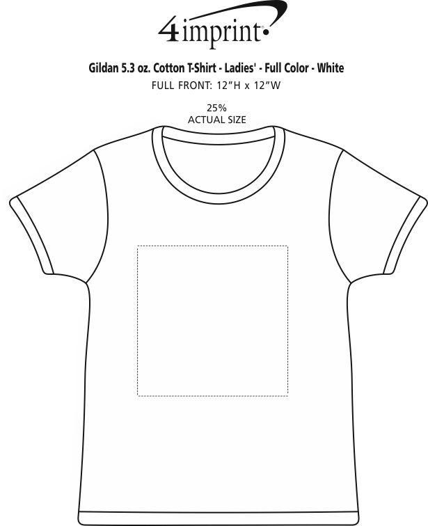 Imprint Area of Gildan 5.3 oz. Cotton T-Shirt - Ladies' - Full Color - White