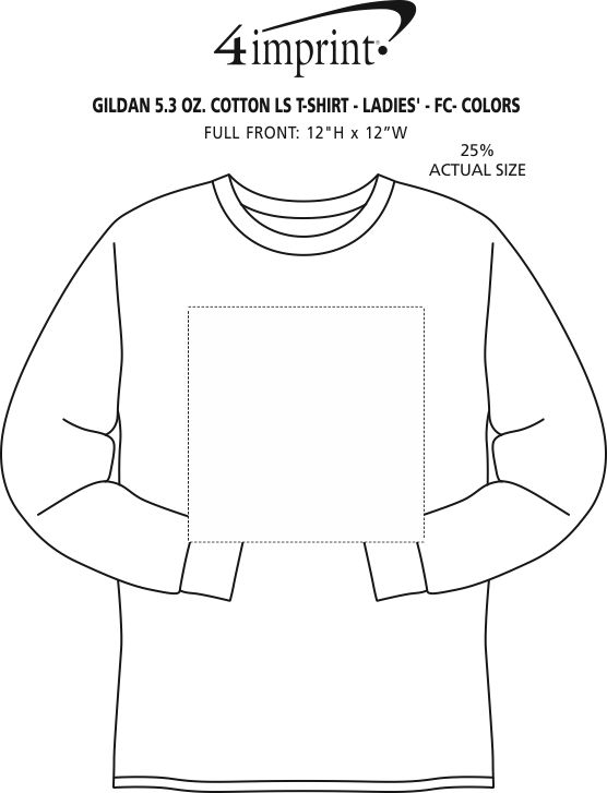 Imprint Area of Gildan 5.3 oz. Cotton LS T-Shirt - Ladies' - Full Color - Colors