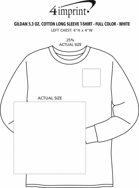 Imprint Area of Gildan 5.3 oz. Cotton LS T-Shirt - Full Color - White