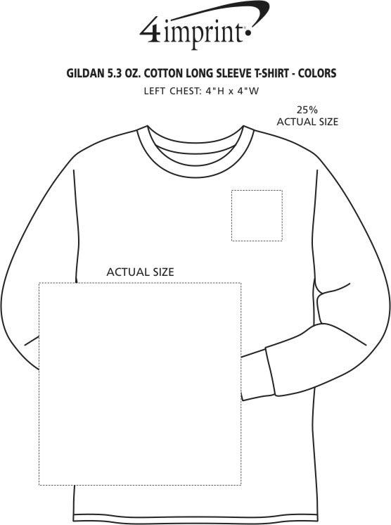 Imprint Area of Gildan 5.3 oz. Cotton LS T-Shirt - Screen - Colors