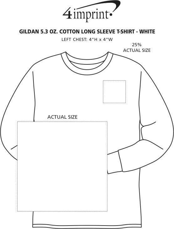 Imprint Area of Gildan 5.3 oz. Cotton LS T-Shirt - Screen - White