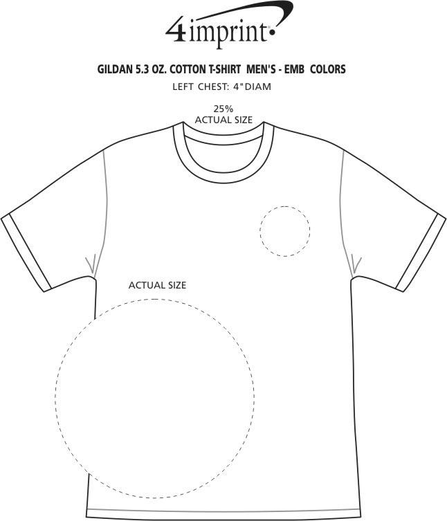 Imprint Area of Gildan 5.3 oz. Cotton T-Shirt - Men's - Embroidered - Colors