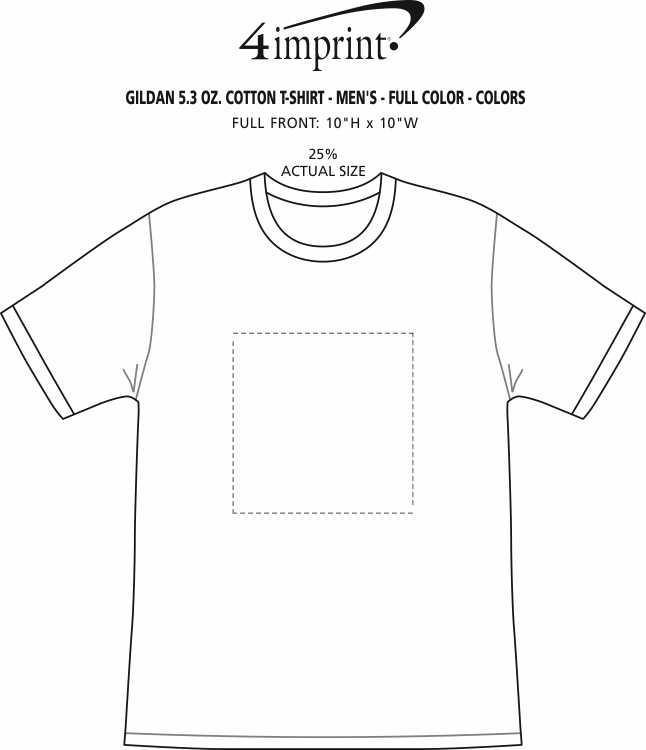 Imprint Area of Gildan 5.3 oz. Cotton T-Shirt - Men's - Full Color - Colors