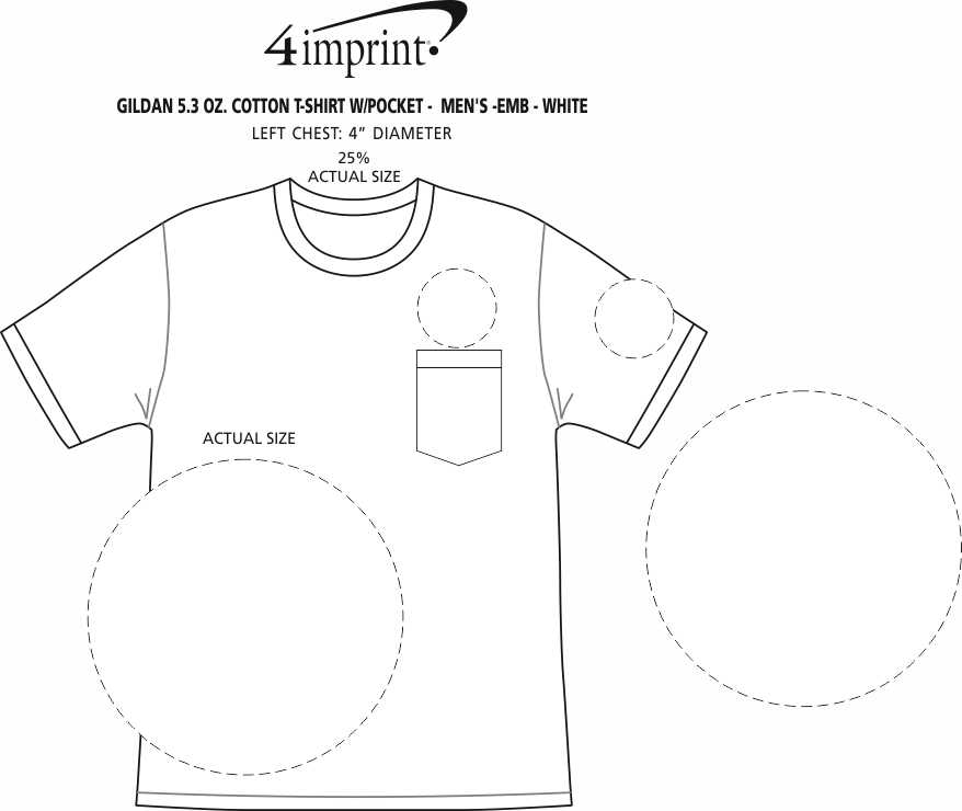 Imprint Area of Gildan 5.3 oz. Cotton T-Shirt with Pocket - Men's - Embroidered - White