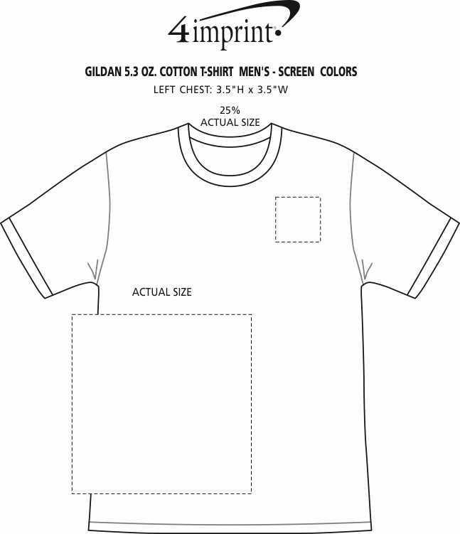 Imprint Area of Gildan 5.3 oz. Cotton T-Shirt - Men's - Screen - Colors