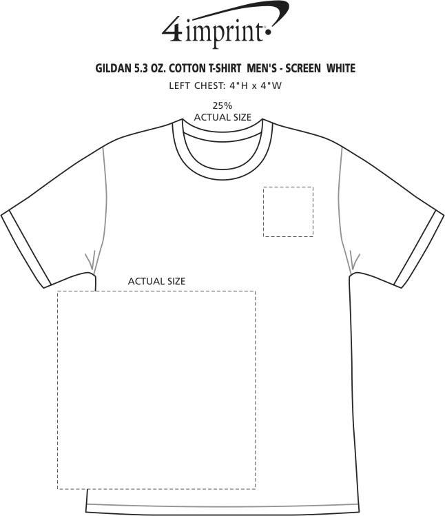 Imprint Area of Gildan 5.3 oz. Cotton T-Shirt - Men's - Screen - White