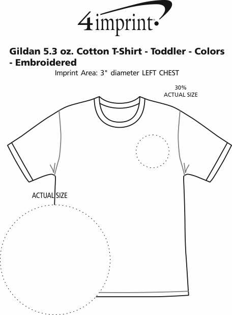 Imprint Area of Gildan 5.3 oz. Cotton T-Shirt - Toddler - Colors - Embroidered