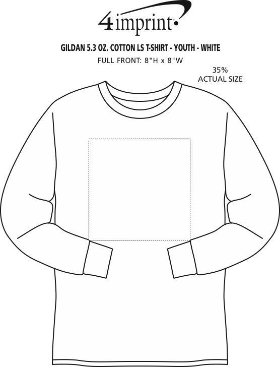 Imprint Area of Gildan 5.3 oz. Cotton LS T-Shirt - Youth - White