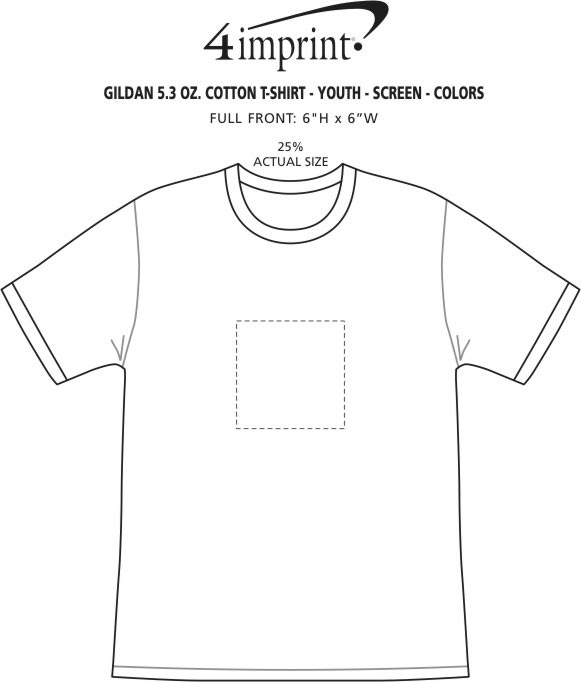 Imprint Area of Gildan 5.3 oz. Cotton T-Shirt - Youth - Screen - Colors
