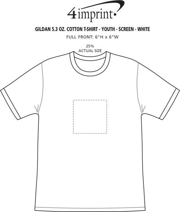 Imprint Area of Gildan 5.3 oz. Cotton T-Shirt - Youth - Screen - White